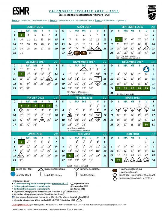 Calendrier scolaire 2017-2018 ÉSMR - VERSION FINALE